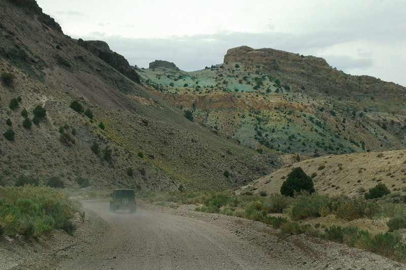 Driving through a colorful canyon on the way to the highway.