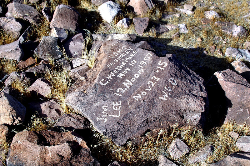 A few of the rocks were marked by past visitors. This one from the years 1907 and 1915.