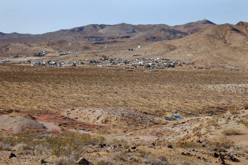 Looking back to the starting point of the hike and the town of Red Mountain.