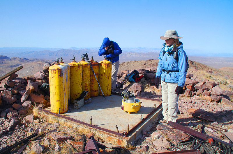 There was the remains of a small building with six gas bottles and a device on the summit. Thinking that it might have been a aircraft beacon.