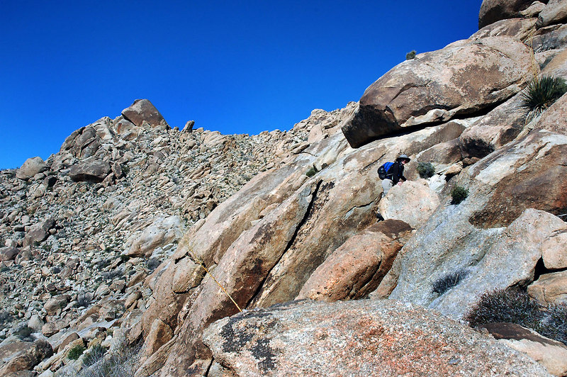 Climbing the slabs after we got off the main route.