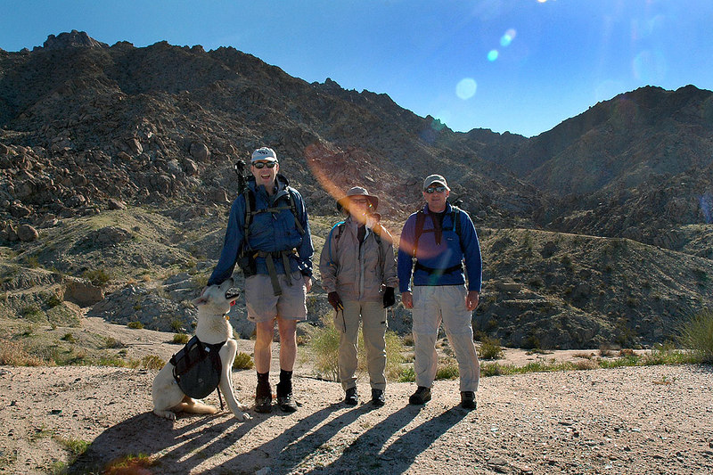 Ken, Kathy, Joe (me) and Shasta the dog at the start of the hike. After meeting, we drove a short way to get in closer to the canyon we planed to hike up.