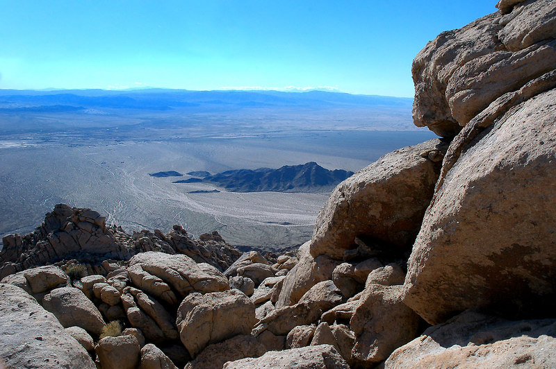 A view on the way down the summit rock pile.