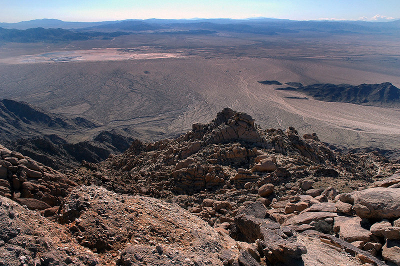 A dry lake to the southwest.