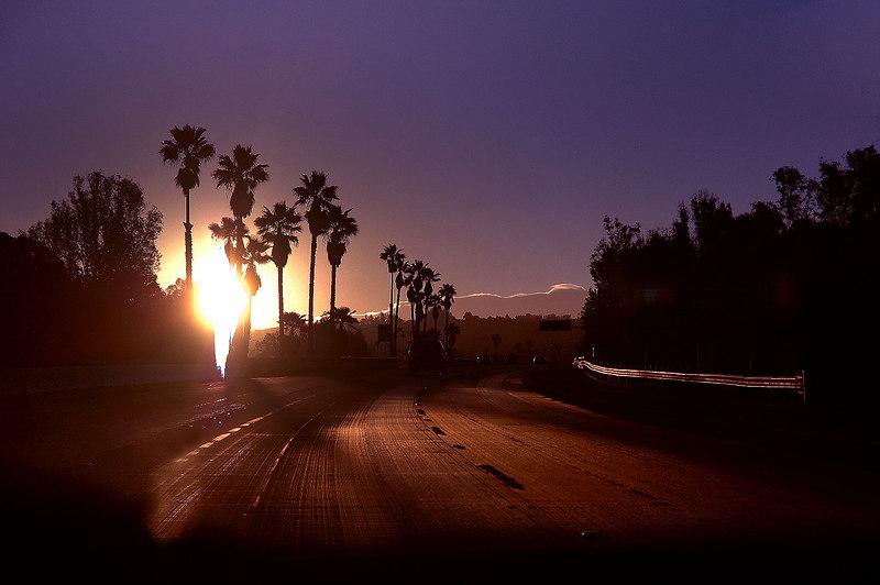 Sunrise on the 10 Freeway on my way to the Twentynine Palms area to climb Sheephole Mountain.