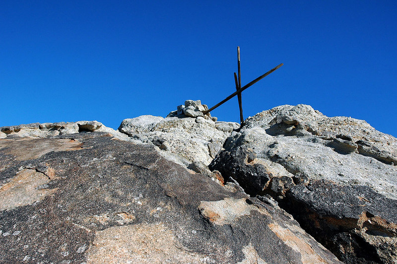 The top is in sight. The register is in the small pile of rocks.