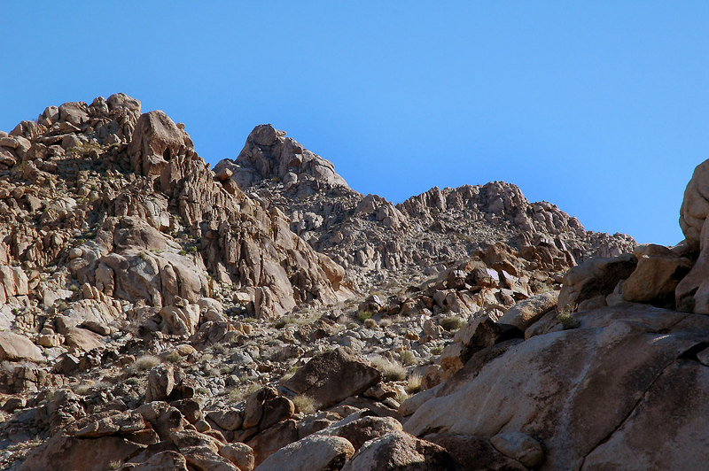Nice looking rock formations up ahead. The actually peak is behind this ridge.