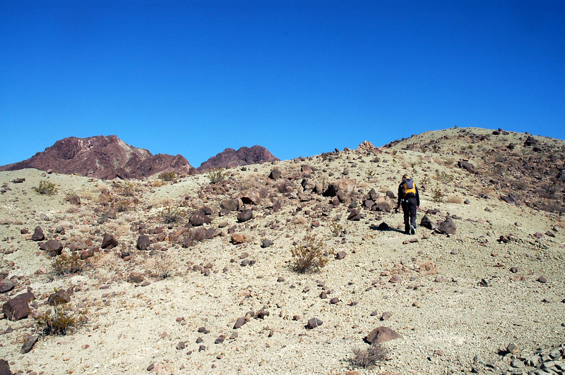 Making our way to the ridge after following an old mining road up a small canyon.