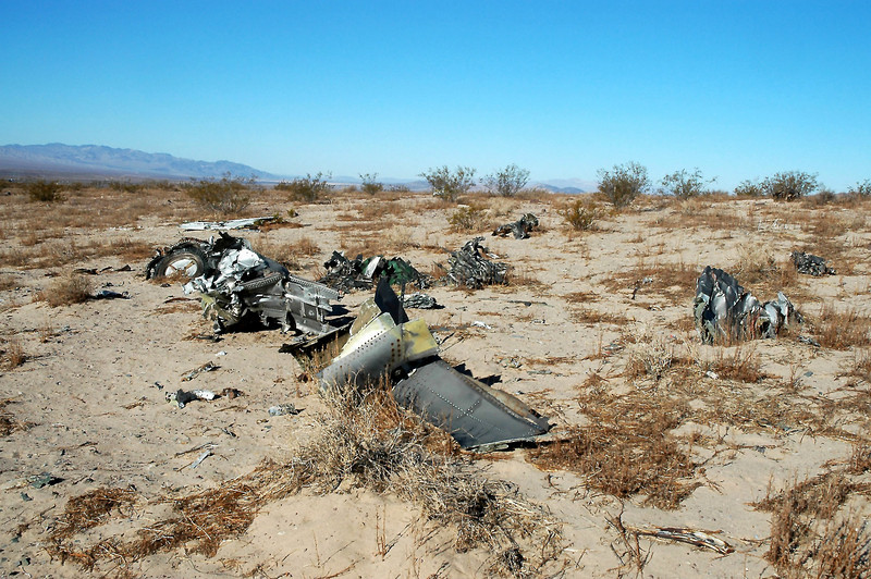 Most of the wreckage has been removed, but there still was a lot of it remianing. The F-4D crashed on 7/13/68 after both of it's engines failed during a flight from Luke AFB, Arizona to George AFB, California. The pilot was able to eject before the Phantom impacted  the desert floor.
