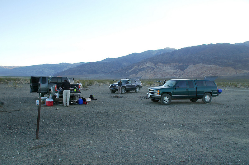 Camp the next morning. Sooz, Chip and Robin are where. Cori, Tom G and Tom B headed up Pleasant Canyon last night so they could get a early start for their hike to Sentinel Peak.