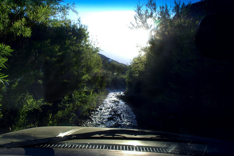 Driving down stream.