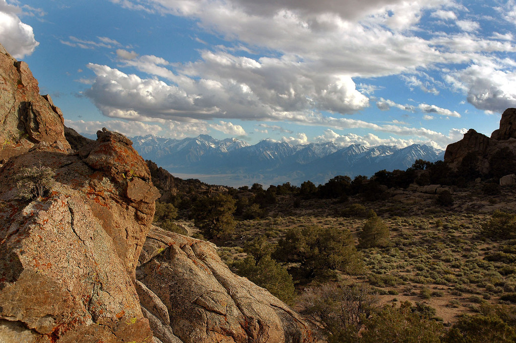 """A view of the Sierra across the Owens Valley from the campsite. This is one of the two """"windows"""" to the Sierra Mountains from camp. This is looking to the southwest."""