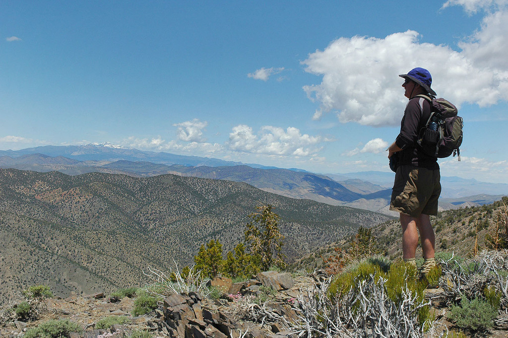 John checking out the view to the north from the main ridge. White Mountain in the distance.
