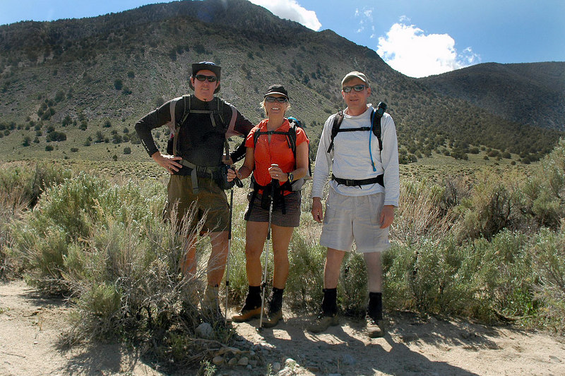 John, Sooz and me, Joe at the starting point of the hike in Squaw Flat. We will be climbing the peak from the west.