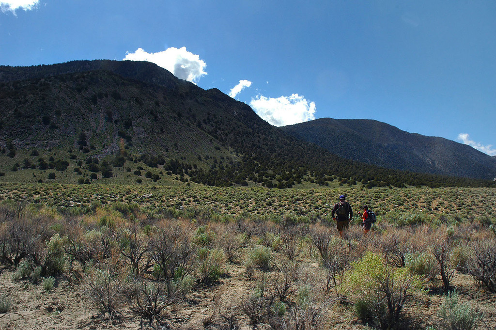The plan is to start on the alluvial fan, then pick one of the ridges to follow to the peak.