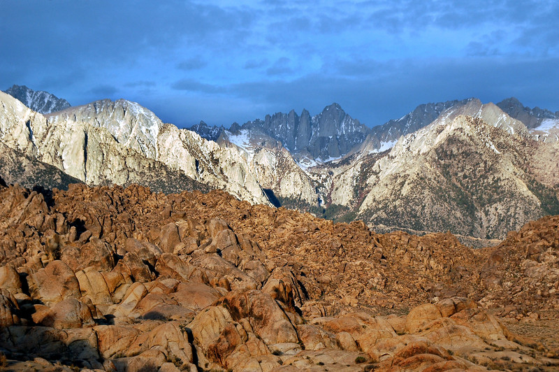 Mount Whitney with the Alabama Hills in foreground.