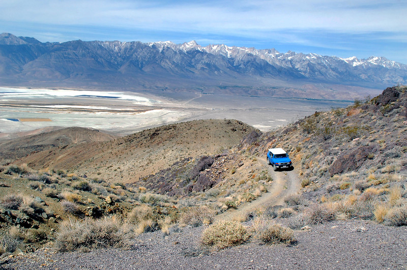 Cori just past the climb. Owens Lake and the Sierra in background. We are at about 6,000 feet at this point.