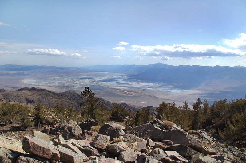 View of Owens Lake (mostly dry) to the south.