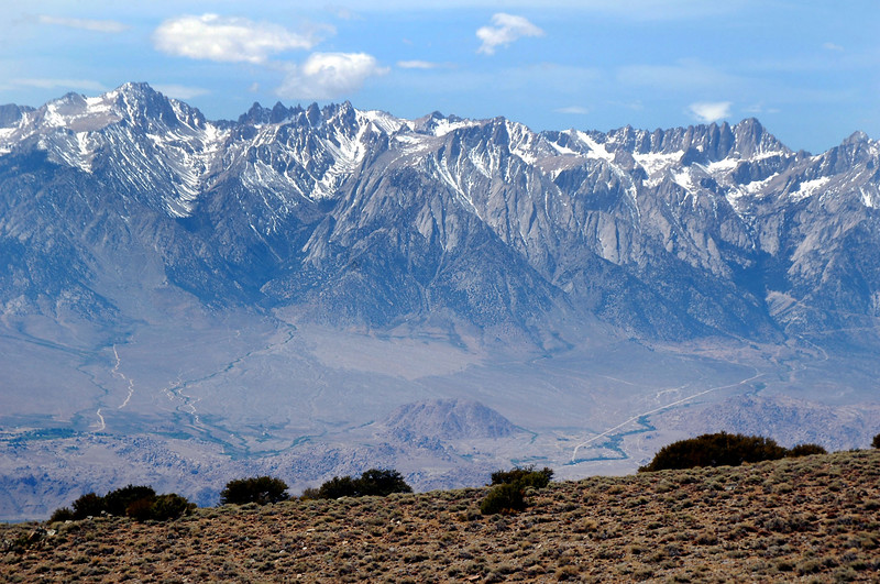 View of the Sierra across the Owens Valley from the mine.