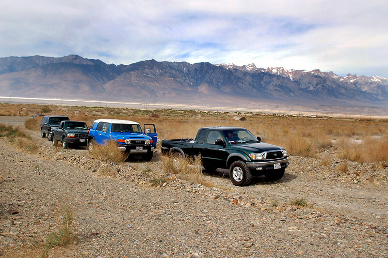 The group's vehicles, John's Tacoma, Cori's FJ, Tom's Ranger, and my Silverado. All are basically stock and had no difficulty handling the technical sections of road.