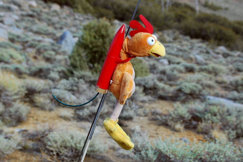 Closer view of Mr Chicken and his rocket pack.