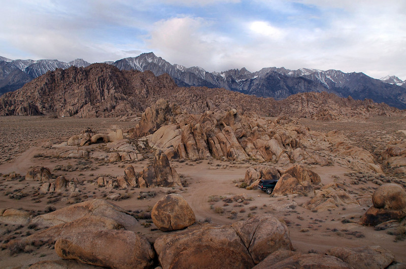 Spent Friday night in the Alabama Hills. The truck is parked between the rocks in lower right, Sierra in background.