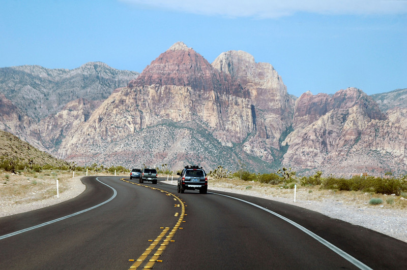 Following Robin, Chip and Sooz on Hwy 159 to the Turtlehead Mountain trailhead. Rainbow Mountain in the background.