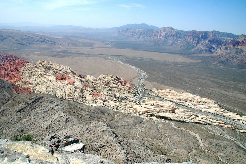 Looking down on the colorful Sandstone Quarry, where we started the hike from.