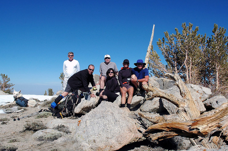 Group shot on the summit of Waucoba Mountain. At 11,123' it's the higtest peak in the Inyo Mountains.
