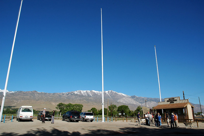Our meeting place in Big Pine. There should be a giant US flag here. We met here Saturday morning at the junction of Hwy 395 and 168 for the drive to the east side of Waucoba Mountain just off the Waucoba Saline Road.