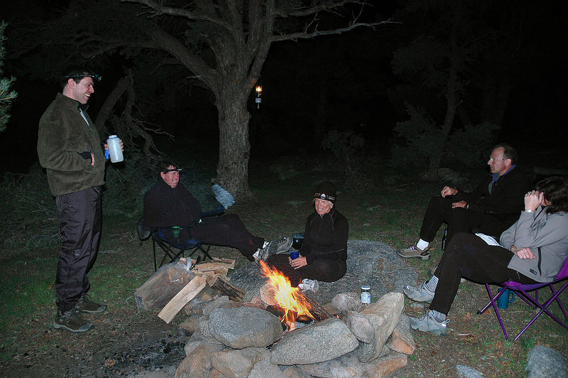 Hanging out around the campfire.