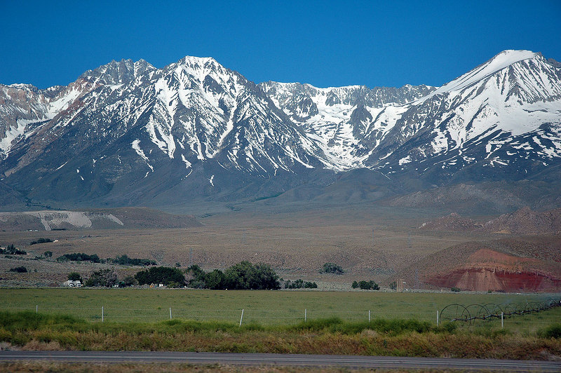 A view of the Sierra to the west from the meeting place, the snow is melting fast.