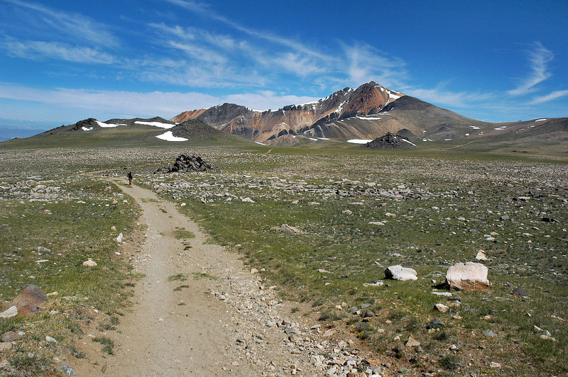 Following the road through Marmot Alley at about 12,500'. Didn't see one marmot on the way in!!!