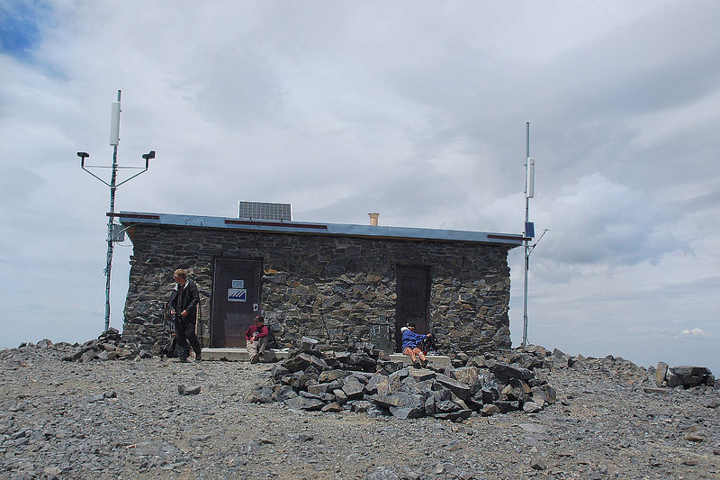 A view of the summit research hut.