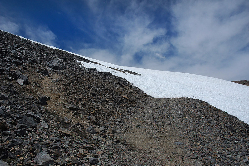 Around 14,000' there was this snow drift blocking the road, there was a use trail to follow.
