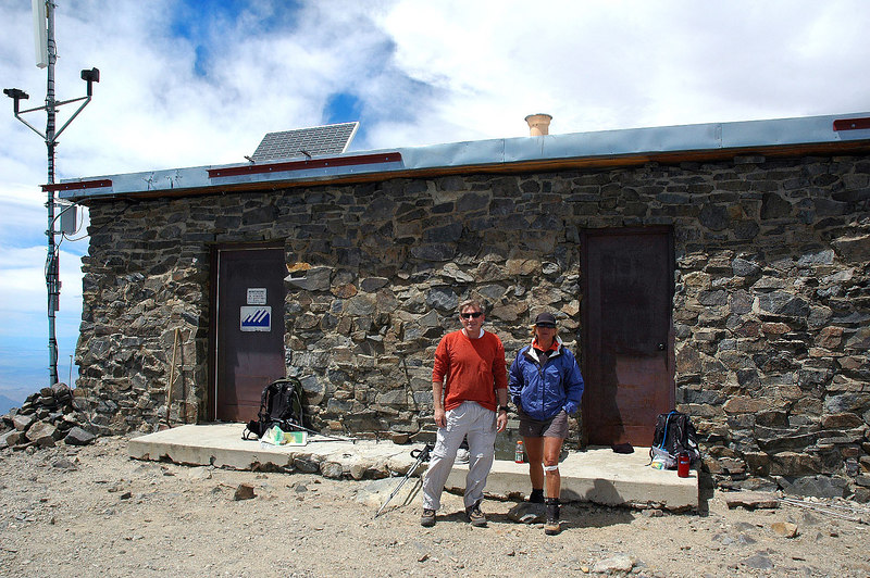 Sooz and me on the summit of White Mountain. At 14,246' it's the third highest peak in California. Mount Whitney at 14,494' and Mount Williamson at 14,375' are the higher ones.