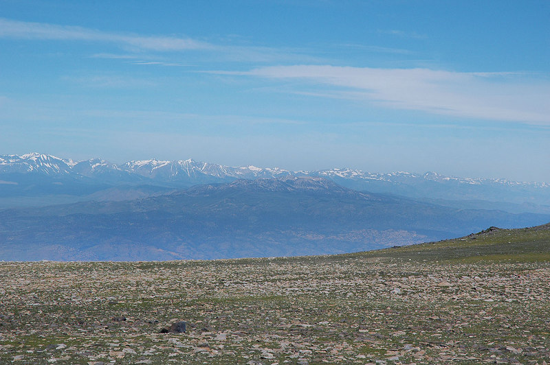 Zoomed in on the Mono Craters and the snow capped Sierra beyond.