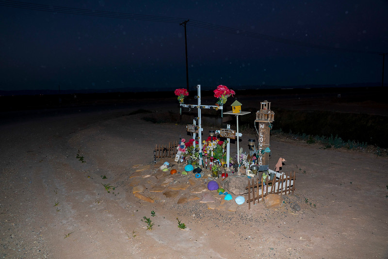 Roadside Memorial to Pris and Jaz, at a Rural  Intersection near Westmorland, Imperial Valley, California