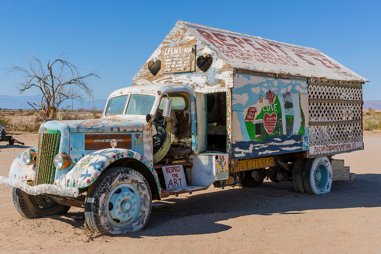 At Salvation Mountain.  Artist: Leonard Knight.
