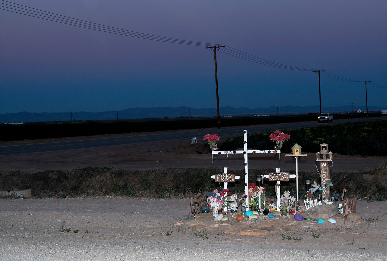 Roadside Shrine to Pris and Jaz, at a Rural  Intersection near Westmorland, California.