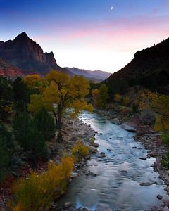 Dusk, Watchman and Virgin River Zion National Park Utah