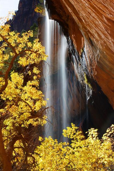 Falls over Emerald Pool Zion National Park Utah