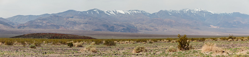 Panamint Mountains Pano<br /> <br /> The air was very hazy for the entire trip. The haze had a neutral gray color to it, not the orange-brown of LA smog. Upon returning home I saw a photo of dust storms in Beijing. I wonder if the source of our hazy air was the Asian dust storms? Dust from these massive storms has been known to cross the Pacific, affecting skies on the west coast of North America.