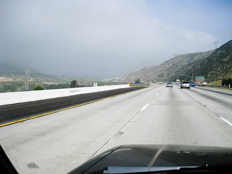 In Cajon Pass, starting the long climb up to the Mojave Desert<br /> <br /> On the left is the San Andreas fault zone