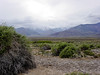 Looking up Hanupah Canyon at Panamint mountains hidden by storm clouds.