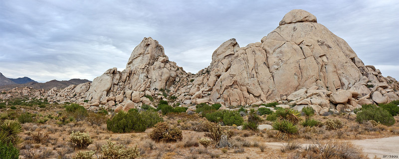 Panorama of the rock formations at our campsite