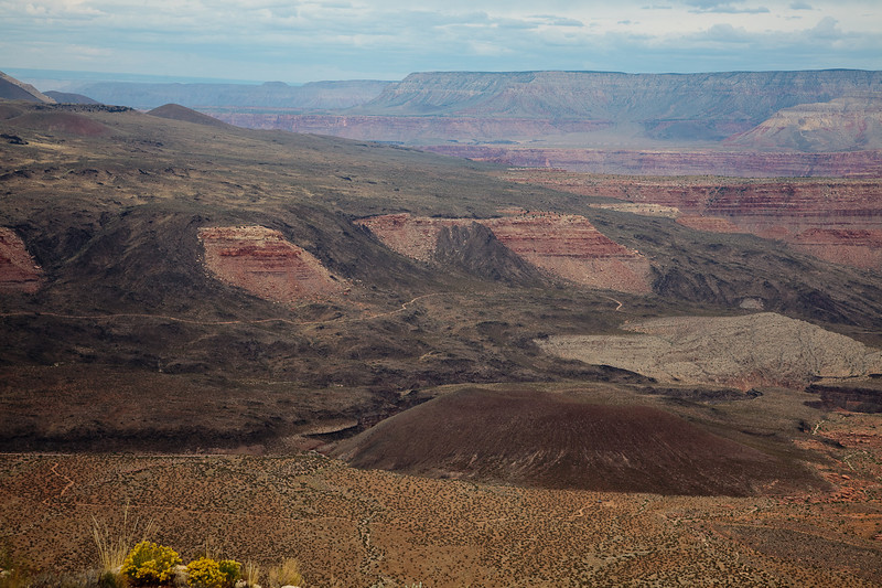A closer look, including the cinder cone at the bottom of Whitmore Wash. Note the road leading to Whitmore overlook. This overlook is the closes you can drive to the Colorado River in the Grand Canyon. About 25 yards horizontally and 800 feet vertically.