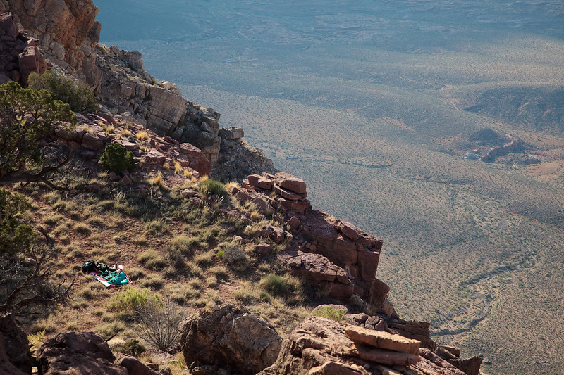 My campsite at Whitmore point<br /> <br /> Nothing quite like camping on a ledge thousands of feet above the Grand Canyon. The view is to die for...