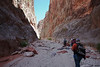 And at the top of the narrows, boulders appear again as the canyon widens a bit.