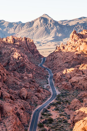 The Valley of Fire in Las Vegas at sunrise, captured from a helicopter.